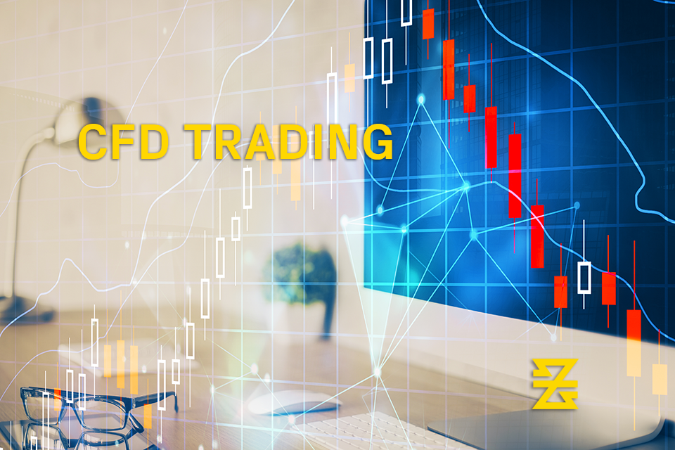 forex chart lines with the words 'cfd trading' on top with baxia symbol