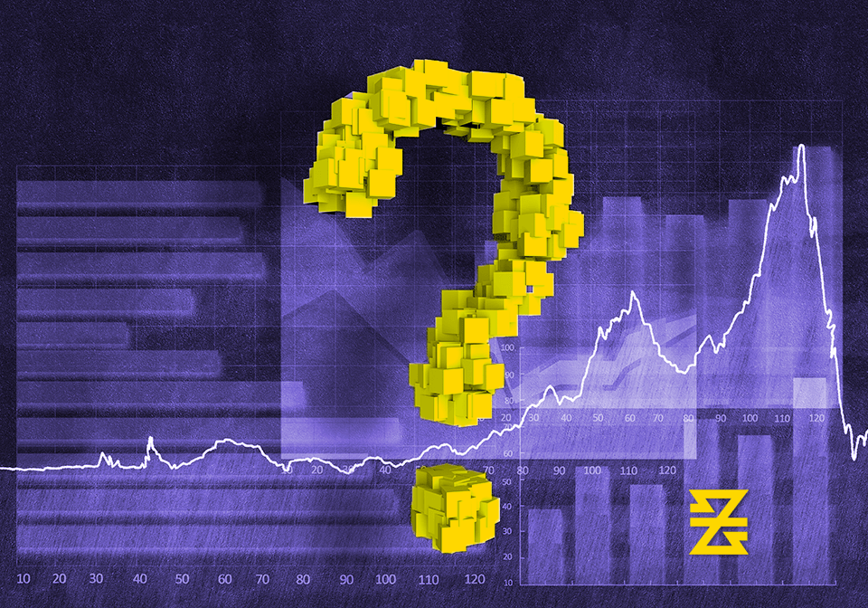 Question mark displayed over forex market trend line with baxia symbol